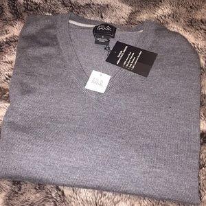 Jos a bank grey merino wool sweater brand new
